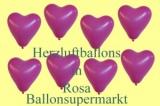 Herzluftballons, Herzballone, Luftballons in Herzform, 100 Stück, Rosa, 30-33 cm