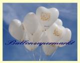Luftballons Hochzeit, Weiße Herzluftballons, Just Married, 10 Stück