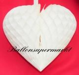 Hochzeit-Deko-Hänger, Weißes Wabenherz, Hochzeitsherz