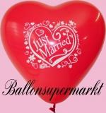Luftballons Hochzeit, Rote Herzluftballons, Just Married, 10 Stück