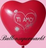 Luftballons Liebe, Herzluftballons Ti Amo, 100 Stück