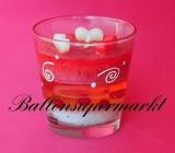 Hochzeit, Tischdeko, Glas-Kerzen 2 Stück, Rot und Weiß