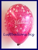 Luftballon Hochzeit, Latexballon in Burgund, Just Married