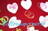 Konfetti Hochzeit, Tischdekoration, Hochzeitsherzen und Eheringe