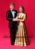 Hochzeitdeko, Tischdekoration zur Goldenen Hochzeit, Hochzeitspaar Deko-Figuren, Gold