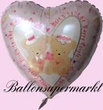 Luftballon zur Hochzeit, Folienballon, Hochzeitspaarbärchen, mit Helium
