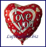 Luftballon aus Folie, Liebe, Großer Herzluftballon I Love You, inklusive Helium