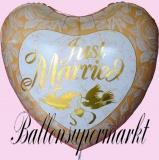 Luftballon zur Hochzeit, Just Married Jumbo, Gold, mit Helium