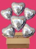 6 Luftballons mit Helium zur Hochzeit, Wedding Wishes mit Hochzeitstauben im Herzen, Glückwünsche, Folien-Luftballons