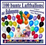 100 bunte Luftballons mit Ballonpumpe zum Kindergeburtstag