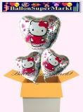 Hello Kitty Holo Herzluftballons mit Helium, Kindergeburtstag Geschenke, 3 Stück