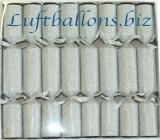 Knallbonbons, Silber, Glitzer, 8 Stück, 21 cm