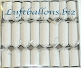 Knallbonbons, Weiß, Glitzer, 8 Stück, 21 cm