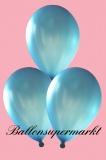 Luftballons Metallic, Latexballons in metallischen blauen Farben, 100 Stück Rundballons Metallik