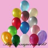 Luftballons Metallic, Latexballons in metallischen bunt sortierten Farben, 100 Stück Rundballons Metallik