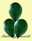Luftballons Metallic, Latexballons in metallischen dunkelgrünen Farben, 100 Stück Rundballons Metallik