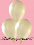 Luftballons Metallic, Latexballons in metallischen Elfenbein-Farben, 100 Stück Rundballons Metallik