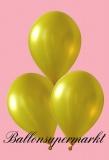 Luftballons Metallic, Latexballons in metallischen gelben Farben, 100 Stück Rundballons Metallik
