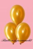 Luftballons Metallic, Latexballons in metallischen Gold-Farben, 100 Stück Rundballons Metallik