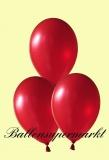 Luftballons Metallic, Latexballons in metallischen roten Farben, 100 Stück Rundballons Metallik