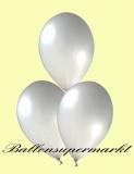 Luftballons Metallic, Latexballons in metallischen silbernen Farben, 100 Stück Rundballons Metallik