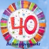 Luftballon Radiant Birthday, Geburtstag 40
