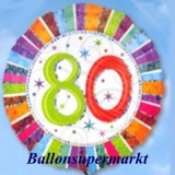 Luftballon Radiant Birthday, Geburtstag 80