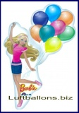Barbie Luftballon mit Helium, Shape, Barbie mit Luftballons