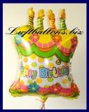 Happy Birthday Geburtstagstorte, Folien-Luftballon mit Helium zum Geburtstag