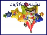 Happy Birthday Sterne, Folien-Luftballon mit Helium zum Geburtstag