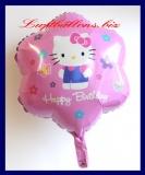 Hello Kitty Happy Birthday Luftballon mit Helium, Kindergeburtstag u. Geschenk
