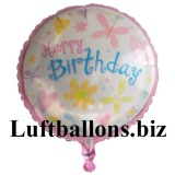 Happy Cute Birthday, Folien-Rundluftballon mit Helium zum Geburtstag