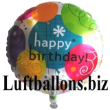 Happy Birthday Breezy, Folien-Rundluftballon mit Helium zum Geburtstag