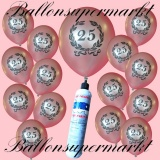 Luftballons Helium Set, Miniflasche, Latex-Luftballons mit Zahl 25, Jubiläum