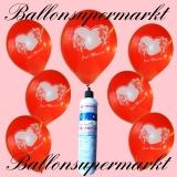 Luftballons Helium Set, Miniflasche, Latex-Luftballons in Rot, Just Married mit Stift zum Eintragen von Namen und Hochzeitsdatum