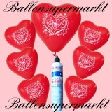 Luftballons Helium Set, Miniflasche, Herzluftballons in Rot, Just Married