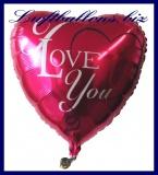 Luftballon aus Folie, Liebe, Herzluftballon I Love You, roter Ballon mit Herz