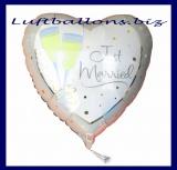 Luftballon zur Hochzeit, Just Married Herzluftballon mit Sektgläsern