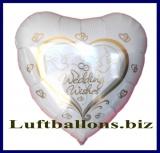 Luftballon zur Hochzeit, Wedding Wishes Herzluftballon