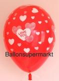 Luftballon, Rundballon, I Love You, Rot, 1 Stück