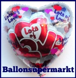 Luftballon aus Folie, Liebe, Lots of Love, Insider, Two in One, inklusive Helium