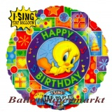 Musikballon, Luftballon mit Musikmodul, Tweety Happy Birthday