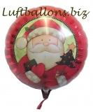 Weihnachtsmann-Luftballon, Rundballon mit Helium, Geschenk zu Weihnachten