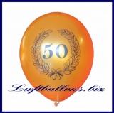 Zahlen-Luftballons, Zahl 50, Gold, Lorbeerkranz, 1 Stück