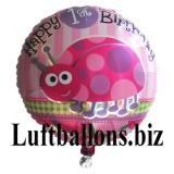 Partydekoration zum 1. Geburtstag, Folien-Luftballon, Marienkäfer, Happy 1st Birthday
