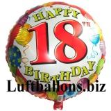 Geburtstagsgeschenk, Luftballon mit Helium im Karton, Balloons-Birthday, 18. Geburtstag