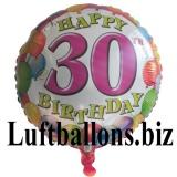Geburtstagsgeschenk, Luftballon mit Helium im Karton, Balloons-Birthday, 30. Geburtstag
