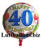 Geburtstagsgeschenk, Luftballon mit Helium im Karton, Balloons-Birthday, 40. Geburtstag