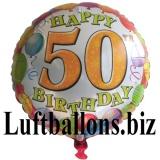 Geburtstagsgeschenk, Luftballon mit Helium im Karton, Balloons-Birthday, 50. Geburtstag
