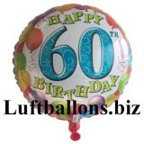 Geburtstagsgeschenk, Luftballon mit Helium im Karton, Balloons-Birthday, 60. Geburtstag